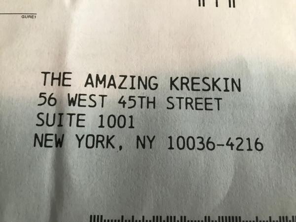 kreskin return envelope