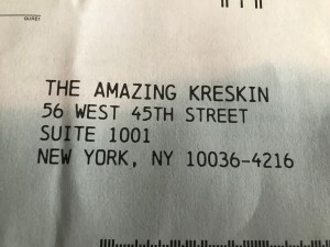 kreskin return envelope
